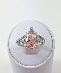 Кольцо серебряное с морганитом Т349