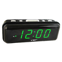 Електронний годинник настільний VST 738 з Зеленим підсвічуванням, настільний LED годинник з будильником