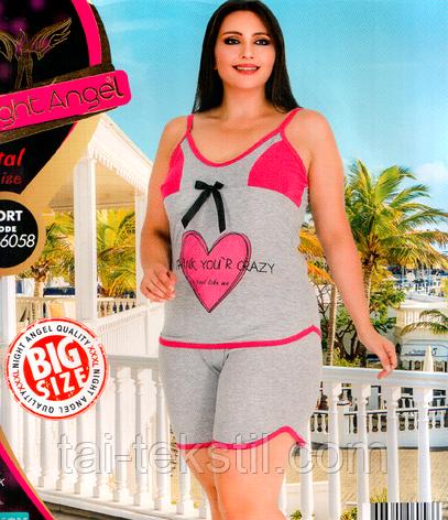Домашній комплект майка і шорти великого розміру бавовна з лайкра 6058, фото 2