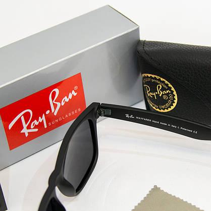Сонцезахисні окуляри RAY BAN Wayfarer поляризаційні антиблікові UV400 (арт. 2140P) чорні матові, фото 3