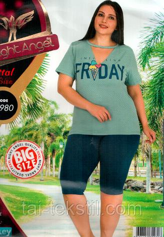 Комплект футболка и капри больших размеров качество лайкра Турция 980, фото 2