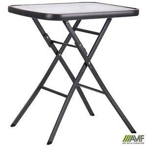 Садовый складной стол AMF Mexico каркас металл темно-серый квадратная столешница стекло