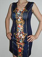 Нарядное платье которое стройнит с розами без рукавов One She рр. 44, 46, 48
