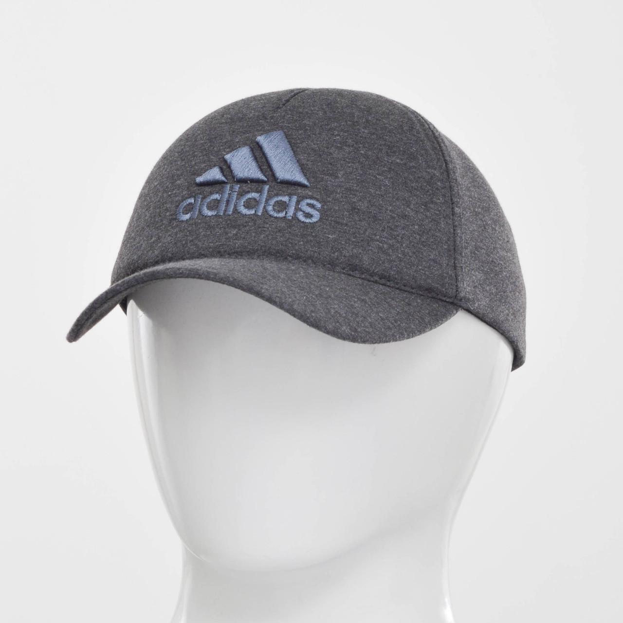 """Бейсболка """"Большой значек"""" Adidas серый меланж+серый"""
