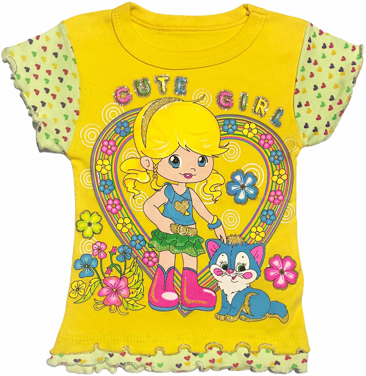 Детская футболка на девочку рост 86 1-1,5 года для новорожденных малышей с принтом красивая трикотажная жёлтая