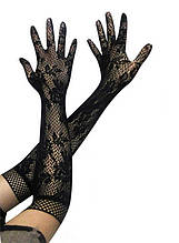 Черные трикотажные ажурные перчатки А-0003