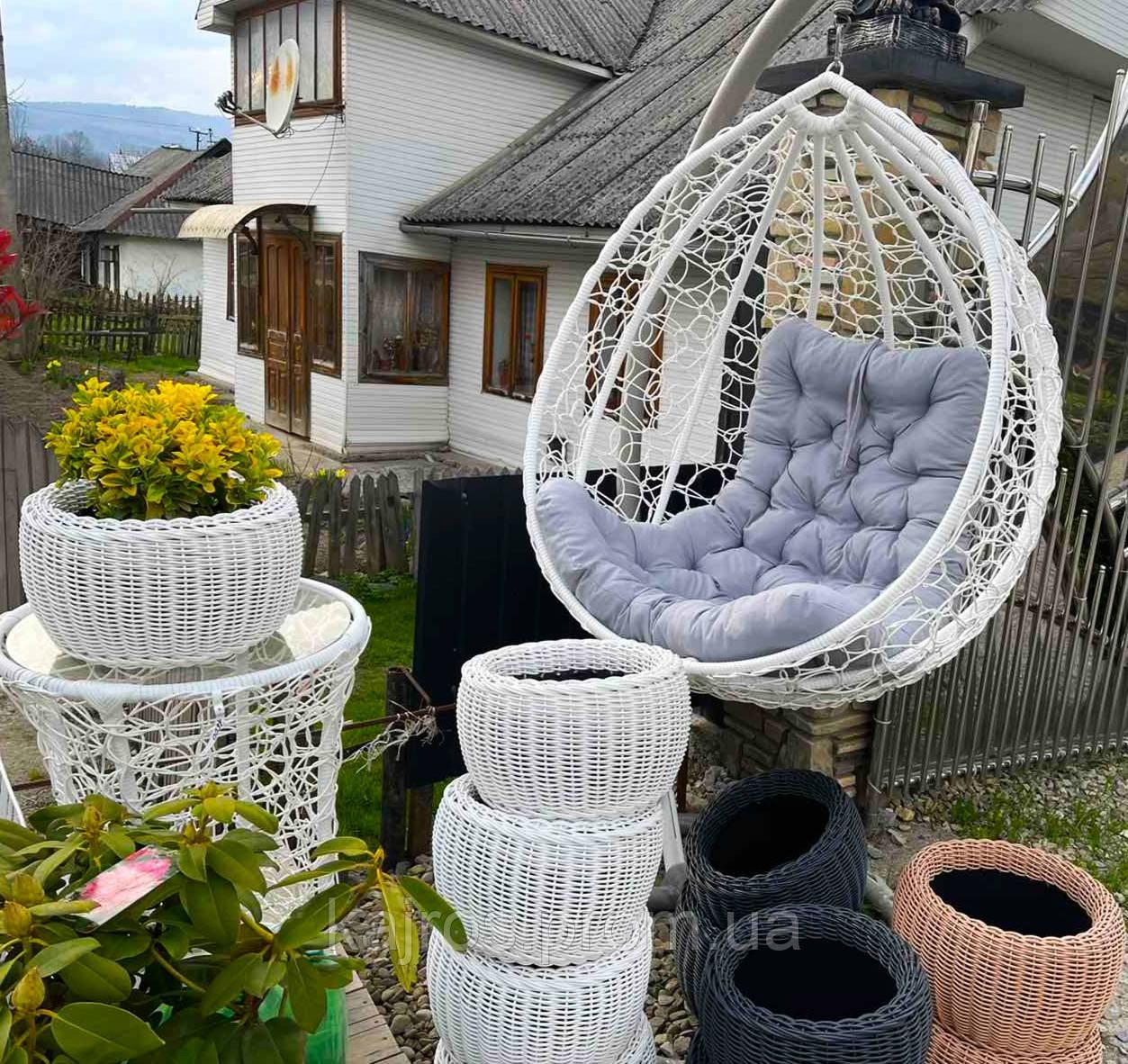 """Підвісне крісло """"Garden_White"""" з техноротангу. Крісло-кокон, гойдалка, качеля, гамак"""