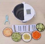 Многофункциональная терка овощерезка с контейнером Wet basket vegetable cutter 9 в 1, Мультислайсер для овощей, фото 6