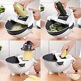 Многофункциональная терка овощерезка с контейнером Wet basket vegetable cutter 9 в 1, Мультислайсер для овощей, фото 7