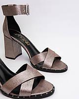 Босоножки женские на толстом каблуке пудра с закрытой пяткой из натуральной кожи 8 см