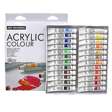 Набор художественных Акриловых красок 24 цвета по 12мл в тюбиках Art Rangers