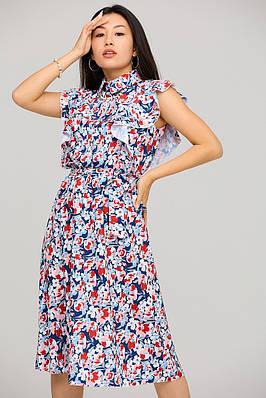Летнее платье миди с цветочным принтом и воланами