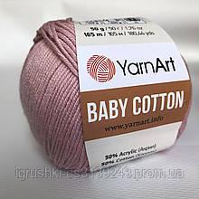 YarnArt Baby cotton 413 (полухлопок) Пыльная роза