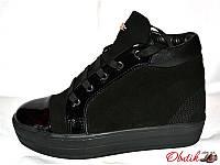 Ботинки-кеды женские зимние на толстой подошве Urban замша кожа Urb0020