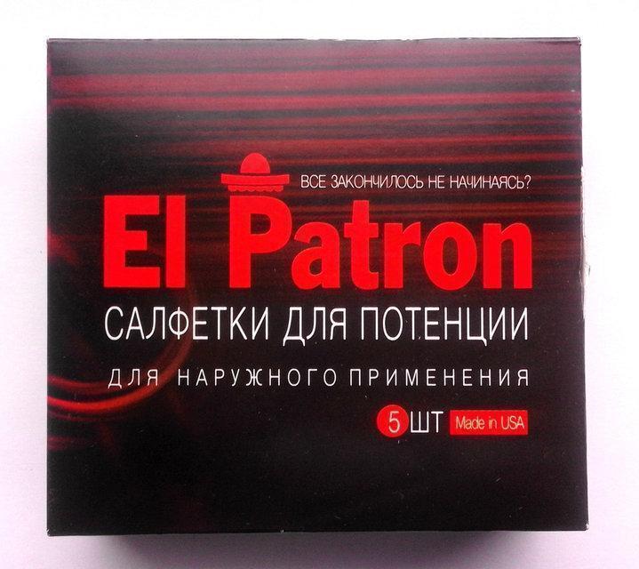 El Patron - серветки для потенції Ель Патрон 5шт, стимуляція потенції, збудник, серветки збудник