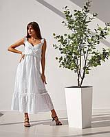 Стильный и женственный длинный сарафан с прошвы подойдет на размеры 42-48