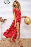 Платье женское летнее на запах в горох (3 цвета, р.S-M,M-L), фото 3