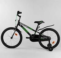 """Двухколесный велосипед для детей с 6 лет. Надувные колеса 20"""". Каретка американка. Черный. CORSO. R-20715 (1)!"""