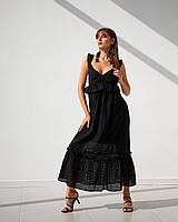 Модный длинный сарафан с расширенной юбкой и приталенным верхом с оборками