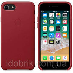 Чехол Leather Case iPhone 7/8 Red (Natural Leather)