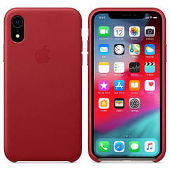 Чехол Leather Case iPhone XR Red (Natural Leather)