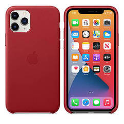 Чехол Leather Case iPhone 11 Pro Red (Natural Leather)