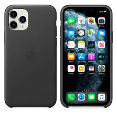 Чехол Leather Case iPhone 11 Pro Black (Natural Leather)