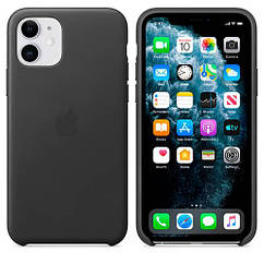 Чехол Leather Case iPhone 11 Black (Natural Leather)