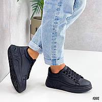 Женские кроссовки из эко кожи на шнуровке  36-41 р чёрный
