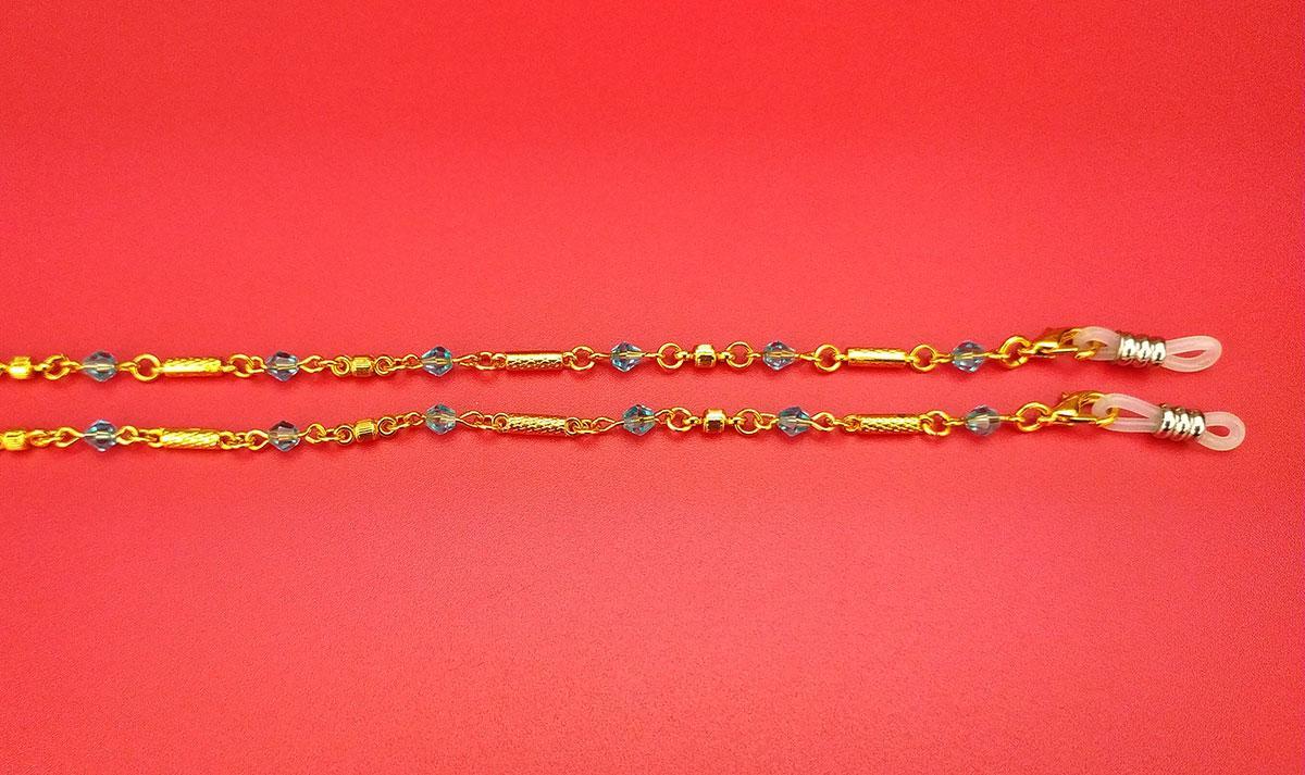 Аксесуари Ланцюжка і шнурки Ц28 (жовта з блакитним каменем)
