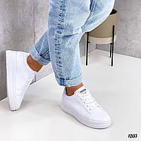 Женские кроссовки из эко кожи на шнуровке  36-41 р белый