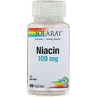 Ниацин, 100 Мг, Solaray, 100 капсул