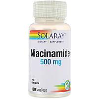 Ниацинамид (В3), Niacinamide, 500 мг, Solaray, 100 капсул