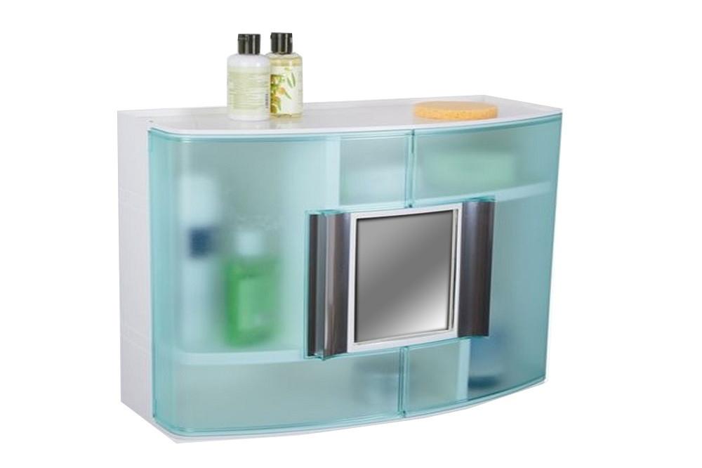 Шкафчик в ванную зеленый с зеркалом, код 09324