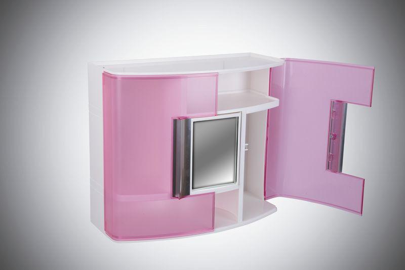Шкафчик в ванную белый/розовый с зеркалом, код 09322