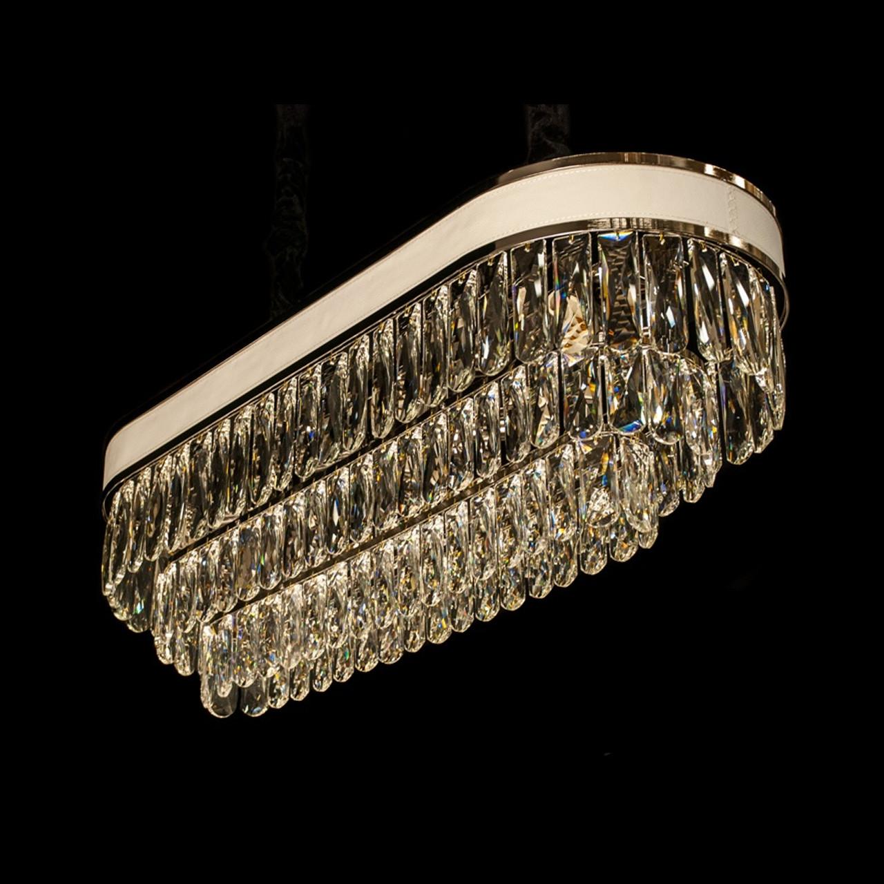 Овальная хрустальная люстра на цепи в стиле АртДеко каркас черный хром 80*30 см на 11 ламп Е14 D-9139-80x30BHR