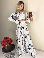 Очаровательный летний женский костюм с бабочками белый с большими бабочками, 42-44