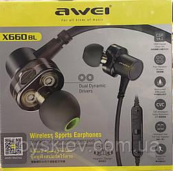 Наушники вакуумные с микрофоном Bluetooth AWEI X-660BT/5016  (60)
