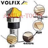 Пазовая фасонная фреза (фигурная галтельная) с подшипником VOLFIX d12 для филенки перила штапика, фото 3
