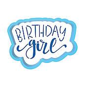 Happy Birthday Girl вырубка с трафаретом 5*7 см (TR-2)