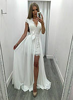 Шикарное летнее платье-двойка (Базовое платье +Юбка шифон) пудра, бирюзовый, белый, 44