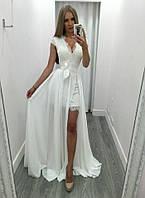 Женственное вечернее летнее платье-двойка (Базовое платье +Юбка шифон)