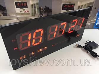 Электронные настенные часы VST-4622/1237 RED/ 23cm*45cm*3cm (12 шт/ящ)