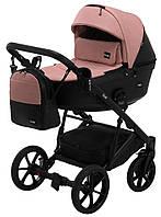Детская универсальная коляска 2в1 Bair Kiwi кожа 100% BK-44/15 розовый (пудра) - черный, фото 1