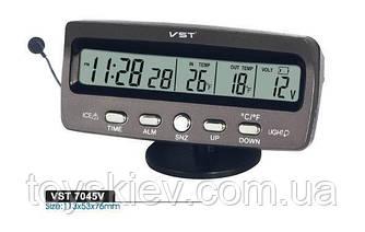 Автомобильные часы с  вольтметром ,термометр,индикатор темпетатур,выносной датчик VST-7045 (80 шт/ящ