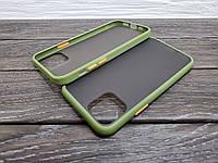 Противоударный матовый чехол для iPhone 11 хаки бампер