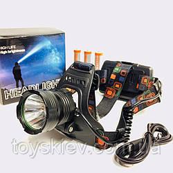 Фонарь налобный XQ-219-HP50, ЗУ micro USB, 3x18650, power bank, signal light (120 шт/ящ)