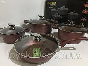 BN-334 (2)-Набор кастрюль и сковорода 2.5л 4.5л 6.5л; 28см красн (2 шт/ящ)