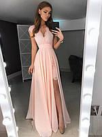 Шикарное летнее платье-двойка (Базовое платье +Юбка шифон) пудра, 46
