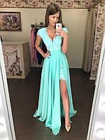 Шикарное летнее платье-двойка (Базовое платье +Юбка шифон) бирюзовый, 42